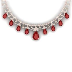 56.94 CTW Royalty Ruby & VS Diamond Necklace 18K Rose Gold - REF-1236T4X - 38704