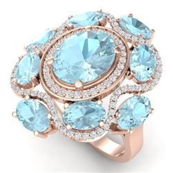 9.26 CTW Royalty Sky Topaz & VS Diamond Ring 18K Rose Gold - REF-178F2M - 39304