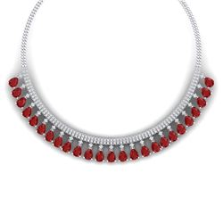 51.75 CTW Royalty Ruby & VS Diamond Necklace 18K White Gold - REF-1072K8R - 38874