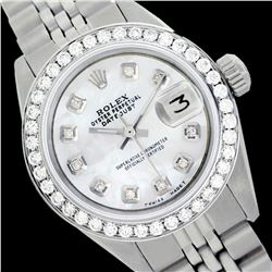 Rolex Ladies Stainless Steel, Diam Dial & Diam/Emerald Bezel, Saph Crystal - REF-355X6A