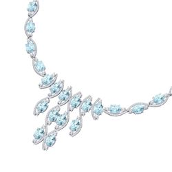 68.12 CTW Royalty Sky Topaz & VS Diamond Necklace 18K White Gold - REF-945K5R - 39006