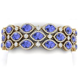 48.16 CTW Royalty Tanzanite & VS Diamond Bracelet 18K Yellow Gold - REF-1236N4Y - 38897
