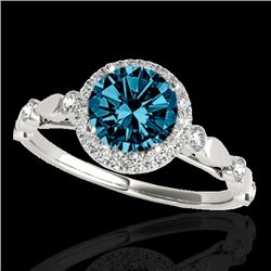 1.25 CTW SI Certified Fancy Blue Diamond Solitaire Halo Ring 10K White Gold - REF-160H2W - 33621