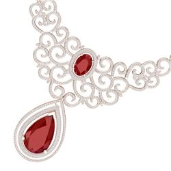 87.52 CTW Royalty Ruby & VS Diamond Necklace 18K Rose Gold - REF-2000Y2N - 39840