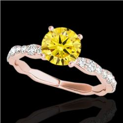 1.4 CTW Certified Si Fancy Intense Yellow Diamond Solitaire Ring 10K Rose Gold - REF-156W4H - 34879