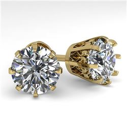 4.0 CTW VS/SI Diamond Stud Solitaire Earrings 14K Yellow Gold - REF-1936R4K - 29557