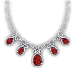38.42 CTW Royalty Ruby & VS Diamond Necklace 18K White Gold - REF-1218H2W - 39528