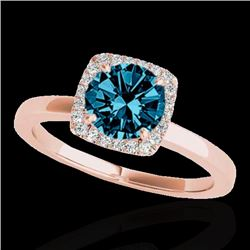 1.15 CTW SI Certified Fancy Blue Diamond Solitaire Halo Ring 10K Rose Gold - REF-163F5M - 33406