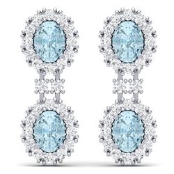 8.8 CTW Royalty Sky Topaz & VS Diamond Earrings 18K White Gold - REF-180X2T - 38820