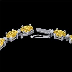 28 CTW Citrine & VS/SI Diamond Certified Eternity Tennis Necklace 10K White Gold - REF-146K5R - 2159