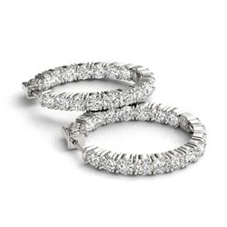 8 CTW Diamond VS/SI Certified 23 Mm Hoop Earrings 14K White Gold - REF-936W8H - 29023