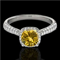 1.5 CTW Certified Si Fancy Intense Yellow Diamond Solitaire Halo Ring 10K White Gold - REF-177T6X -