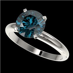2.50 CTW Certified Intense Blue SI Diamond Solitaire Engagement Ring 10K White Gold - REF-608R5K - 3