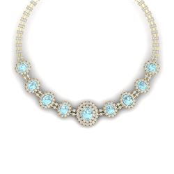 47.10 CTW Royalty Sky Topaz & VS Diamond Necklace 18K Yellow Gold - REF-1509T3X - 38804