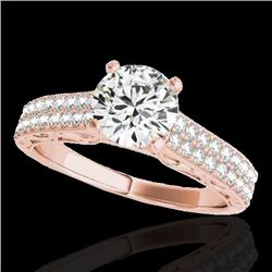 1.41 CTW H-SI/I Certified Diamond Solitaire Antique Ring 10K Rose Gold - REF-176Y4N - 34694