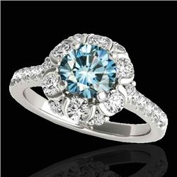 2.05 CTW SI Certified Fancy Blue Diamond Solitaire Halo Ring 10K White Gold - REF-209T3X - 33914