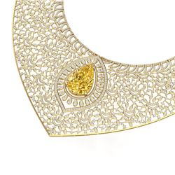 59.27 CTW Royalty Canary Citrine & VS Diamond Necklace 18K Yellow Gold - REF-2454H5W - 39584