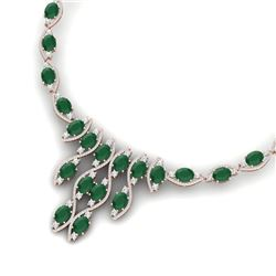 65.93 CTW Royalty Emerald & VS Diamond Necklace 18K Rose Gold - REF-1145W5H - 38995
