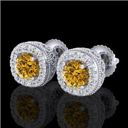 1.69 CTW Intense Fancy Yellow Diamond Art Deco Stud Earrings 18K White Gold - REF-180T2X - 37994