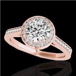 1.33 CTW H-SI/I Certified Diamond Solitaire Halo Ring 10K Rose Gold - REF-174Y5N - 33509