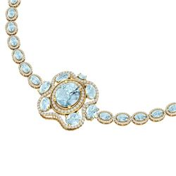 47.72 CTW Royalty Sky Topaz & VS Diamond Necklace 18K Yellow Gold - REF-818H2W - 39341