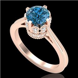 1.5 CTW Fancy Intense Blue Diamond Engagement Art Deco Ring 18K Rose Gold - REF-209H3W - 37349