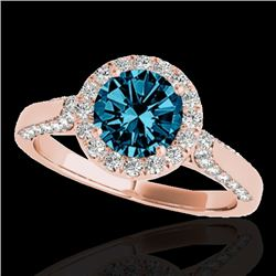 1.5 CTW SI Certified Fancy Blue Diamond Solitaire Halo Ring 10K Rose Gold - REF-176N4Y - 33568