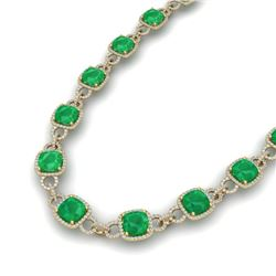 56 CTW Emerald & VS/SI Diamond Certified Necklace 14K Yellow Gold - REF-960W2H - 23042