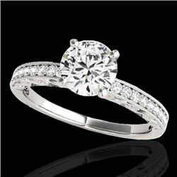 1.18 CTW H-SI/I Certified Diamond Solitaire Antique Ring 10K White Gold - REF-174R5K - 34603