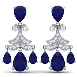 11.97 CTW Royalty Sapphire & VS Diamond Earrings 18K White Gold - REF-170K9R - 38721