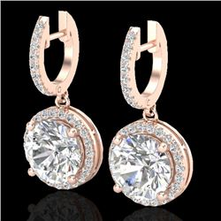 4.50 CTW Micro Pave VS/SI Diamond Certified Designer Halo 14K Rose Gold - REF-1685R9K - 23182