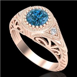 1.07 CTW Fancy Intense Blue Diamond Solitaire Art Deco Ring 18K Rose Gold - REF-200H2W - 37475