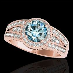 1.5 CTW SI Certified Fancy Blue Diamond Solitaire Halo Ring 10K Rose Gold - REF-180K2R - 34075