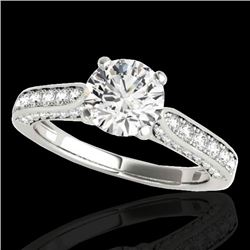 1.6 CTW H-SI/I Certified Diamond Solitaire Ring 10K White Gold - REF-180N2Y - 34916