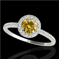1.2 CTW Certified Si Fancy Intense Yellow Diamond Solitaire Halo Ring 10K White Gold - REF-150Y9N -