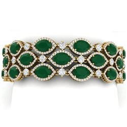 52.84 CTW Royalty Emerald & VS Diamond Bracelet 18K Yellow Gold - REF-1181X8T - 38888
