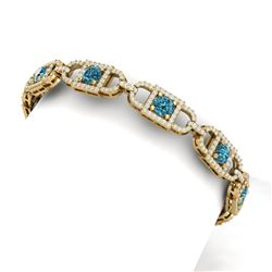 9 CTW Si/I Fancy Blue And White Diamond Bracelet 18K Yellow Gold - REF-680H5W - 40144