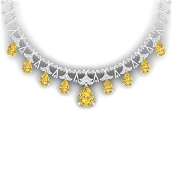 55.49 CTW Royalty Canary Citrine & VS Diamond Necklace 18K White Gold - REF-945F5M - 38712