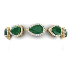 42 CTW Royalty Emerald & VS Diamond Bracelet 18K Yellow Gold - REF-636T4X - 38858