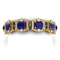 43.87 CTW Royalty Sapphire & VS Diamond Bracelet 18K Yellow Gold - REF-763X6T - 38783