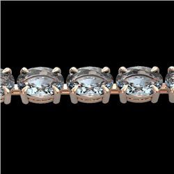 20 CTW Aquamarine Eternity Designer Inspired Tennis Bracelet 14K Rose Gold - REF-178K2R - 23385