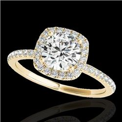 1.25 CTW H-SI/I Certified Diamond Solitaire Halo Ring 10K Yellow Gold - REF-150H9W - 33327