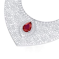 63.93 CTW Royalty Ruby & VS Diamond Necklace 18K White Gold - REF-2690H9W - 39573