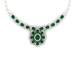 38.46 CTW Royalty Emerald & VS Diamond Necklace 18K Rose Gold - REF-654K5R - 39031