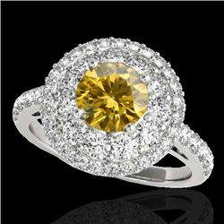 2.09 CTW Certified Si Fancy Intense Yellow Diamond Solitaire Halo Ring 10K White Gold - REF-220W2H -