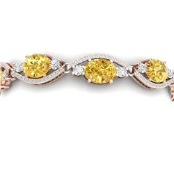 18.3 CTW Royalty Canary Citrine & VS Diamond Bracelet 18K Rose Gold - REF-327K3R - 38974