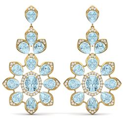 53.34 CTW Royalty Sky Topaz & VS Diamond Earrings 18K Yellow Gold - REF-381R8K - 39056