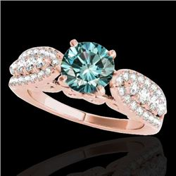 2 CTW SI Certified Fancy Blue Diamond Solitaire Ring 10K Rose Gold - REF-254F5M - 35274