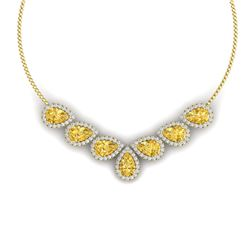 33.34 CTW Royalty Canary Citrine & VS Diamond Necklace 18K Yellow Gold - REF-527F3M - 38840