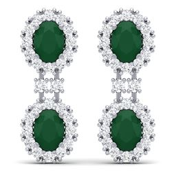 8.98 CTW Royalty Emerald & VS Diamond Earrings 18K White Gold - REF-218M2F - 38808